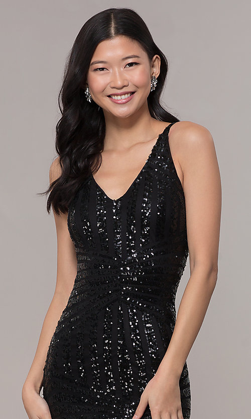 Image of long side-slit sequin-mesh black prom dress. Style: MO-21738 Detail Image 1