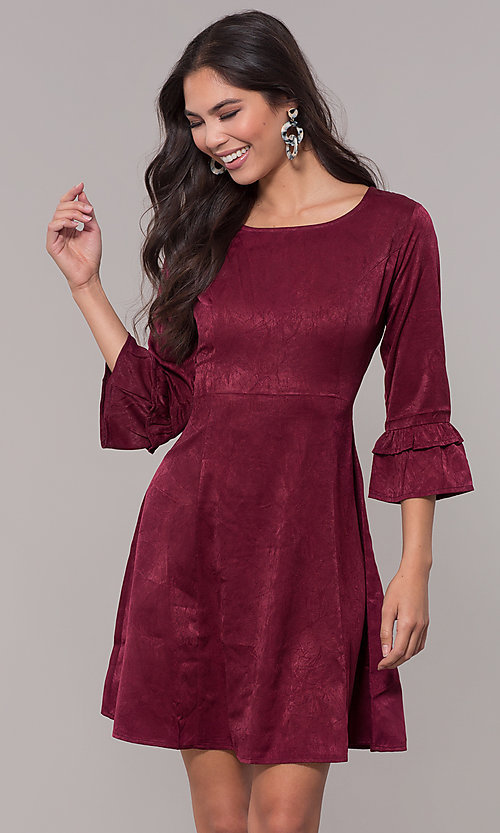 Image of short holiday 3/4-sleeve party dress. Style: RO-R67592 Front Image
