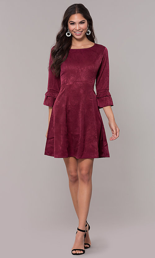 Image of short holiday 3/4-sleeve party dress. Style: RO-R67592 Detail Image 3