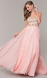Image of long formal prom dress with embellished bodice. Style: DJ-489-B Front Image
