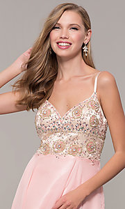 Image of long formal prom dress with embellished bodice. Style: DJ-489-B Detail Image 1