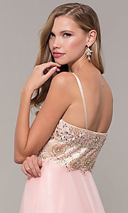 Image of long formal prom dress with embellished bodice. Style: DJ-489-B Detail Image 2