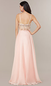 Image of long formal prom dress with embellished bodice. Style: DJ-489-B Back Image