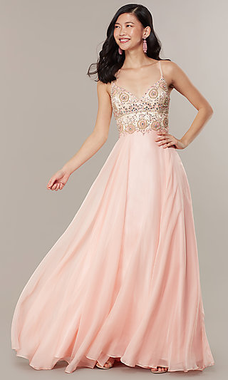 Long Formal Prom Dress with Embellished Bodice