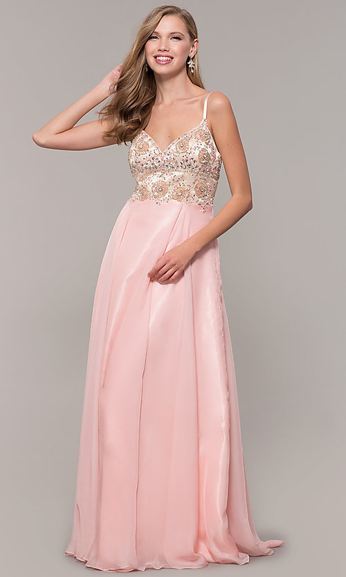 Image of long formal prom dress with embellished bodice. Style: DJ-489-B Detail Image 3