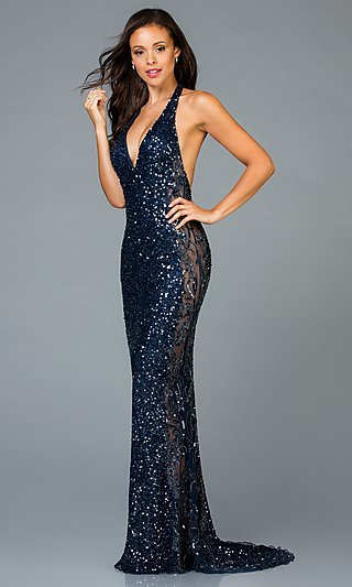 Long Scala Sequin Prom Dress with Sheer Sides