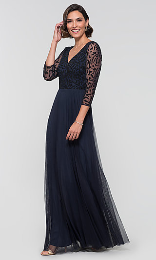 Midnight Blue Long Sleeve Formal MOB Gown