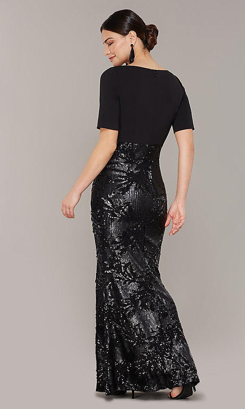 Image of mother-of-the-bride long black dress with sequins. Style: AP-AP1E205644-B Back Image