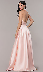 Image of halter long prom dress with embroidered applique. Style: PO-8316 Back Image