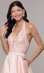 Image of halter long prom dress with embroidered applique. Style: PO-8316 Detail Image 1