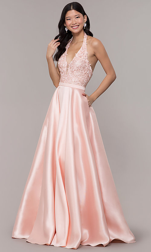 Image of halter long prom dress with embroidered applique. Style: PO-8316 Detail Image 3