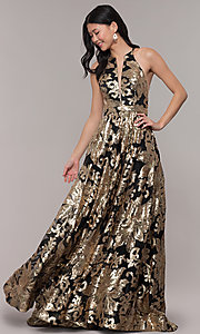 Image of long gold sequin-print high-neck black prom dress. Style: PO-8332 Front Image
