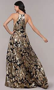 Image of long gold sequin-print high-neck black prom dress. Style: PO-8332 Back Image