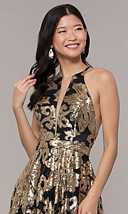 Image of long gold sequin-print high-neck black prom dress. Style: PO-8332 Detail Image 1