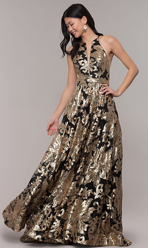 546fe93a Image of long gold sequin-print high-neck black prom dress. Style: