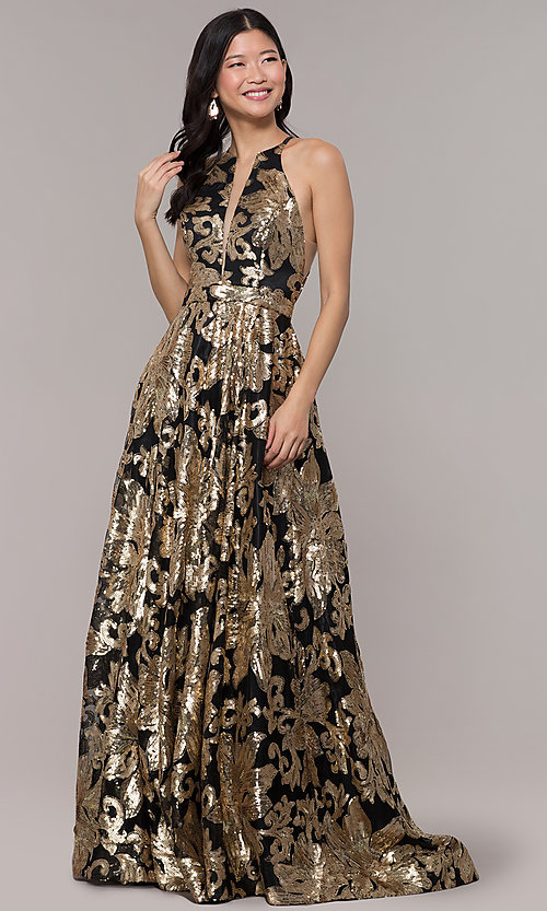Image of long gold sequin-print high-neck black prom dress. Style: PO-8332 Detail Image 3