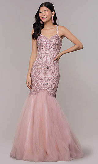Long Trumpet Skirt Prom Dress with Embellished Bodice