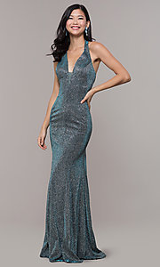Image of long v-neck glitter halter prom dress with open back. Style: PO-8384 Front Image