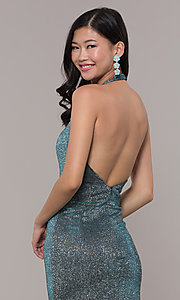 Image of long v-neck glitter halter prom dress with open back. Style: PO-8384 Detail Image 2