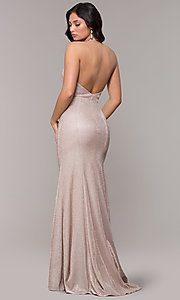 Image of long v-neck glitter halter prom dress with open back. Style: PO-8384 Detail Image 4