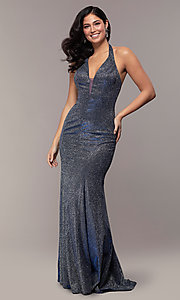 Image of long v-neck glitter halter prom dress with open back. Style: PO-8384 Detail Image 7