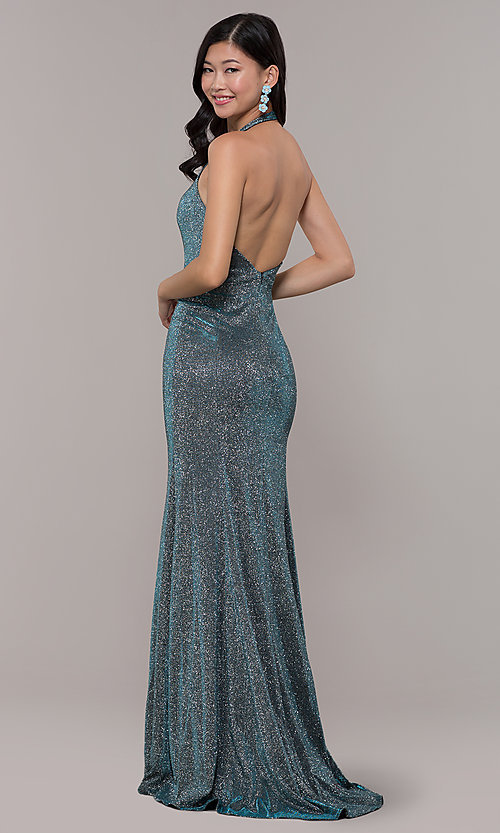 Image of long v-neck glitter halter prom dress with open back. Style: PO-8384 Back Image