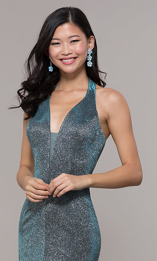 Image of long v-neck glitter halter prom dress with open back. Style: PO-8384 Detail Image 1
