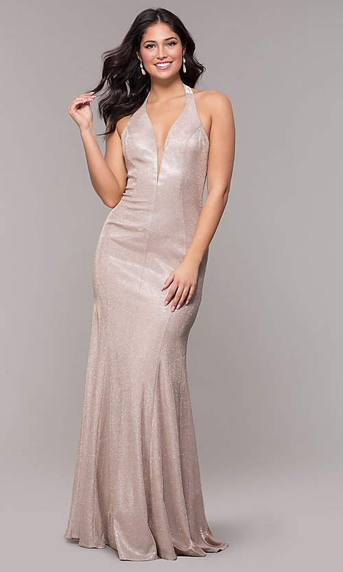 Image of long v-neck glitter halter prom dress with open back. Style: PO-8384 Detail Image 3