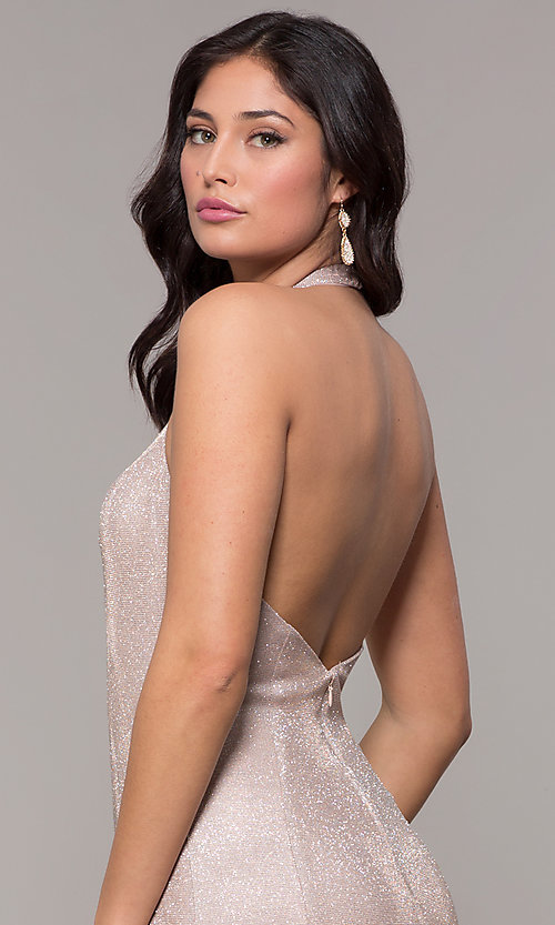 Image of long v-neck glitter halter prom dress with open back. Style: PO-8384 Detail Image 6