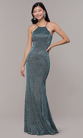 Long High-Neck Glitter Embellished Prom Dress