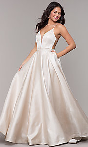 Image of long v-neck backless formal prom dress with pockets. Style: PO-8456 Front Image