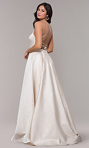 Image of long v-neck backless formal prom dress with pockets. Style: PO-8456 Back Image