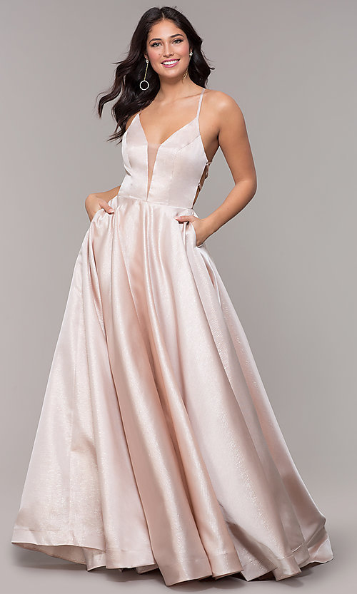 Image of long v-neck backless formal prom dress with pockets. Style: PO-8456 Detail Image 4