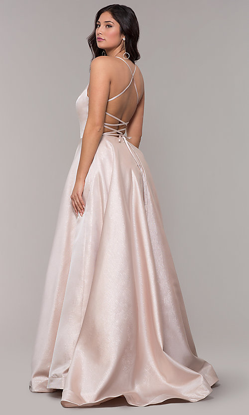 Image of long v-neck backless formal prom dress with pockets. Style: PO-8456 Detail Image 5