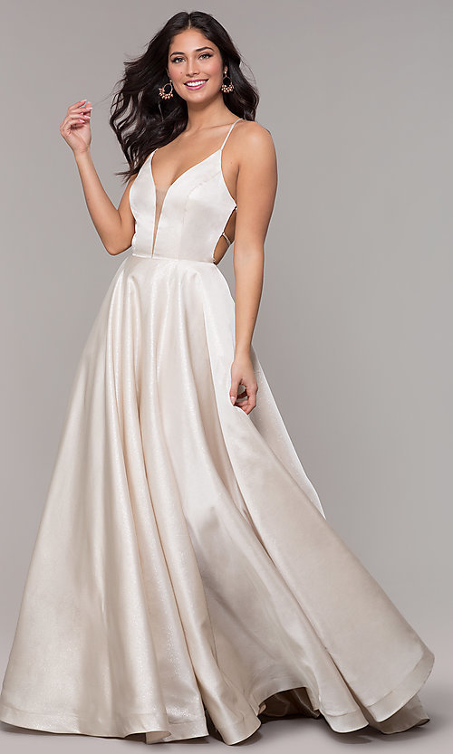 Image of long v-neck backless formal prom dress with pockets. Style: PO-8456 Detail Image 3