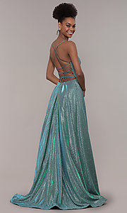 Image of long iridescent glitter corset backless prom dress. Style: PO-8458 Front Image