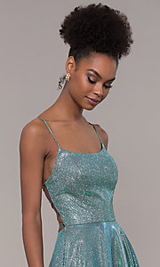 Image of long iridescent glitter corset backless prom dress. Style: PO-8458 Detail Image 1