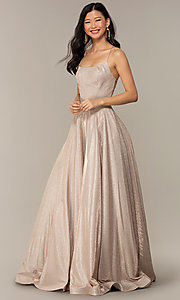 Image of long iridescent glitter corset backless prom dress. Style: PO-8458 Detail Image 4