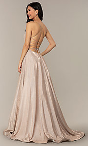 Image of long iridescent glitter corset backless prom dress. Style: PO-8458 Detail Image 5