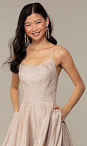 Image of long iridescent glitter corset backless prom dress. Style: PO-8458 Detail Image 6