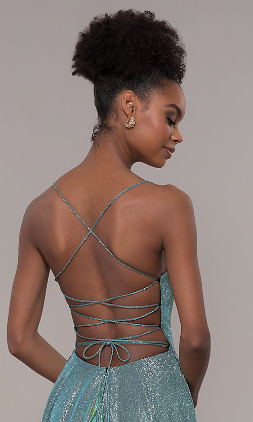 Image of long iridescent glitter corset backless prom dress. Style: PO-8458 Detail Image 2