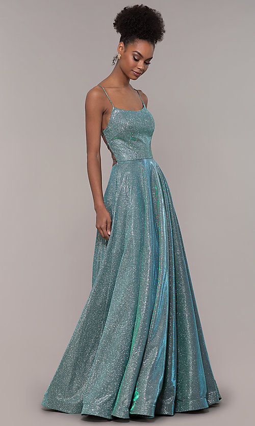 Image of long iridescent glitter corset backless prom dress. Style: PO-8458 Detail Image 3