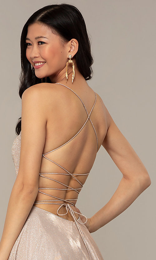 Image of long iridescent glitter corset backless prom dress. Style: PO-8458 Detail Image 7