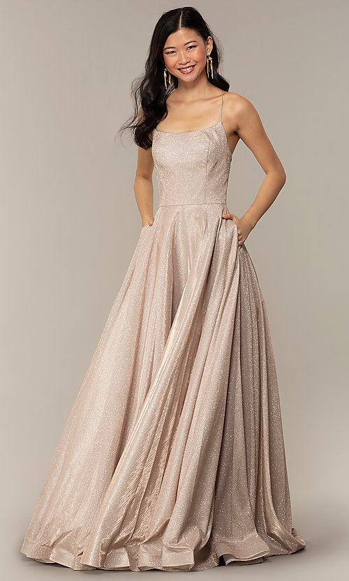 Image of long iridescent glitter corset backless prom dress. Style: PO-8458 Detail Image 8