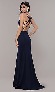 Image of long strappy-open-back prom dress. Style: PO-8468 Front Image