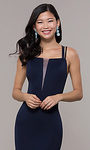 Image of long strappy-open-back prom dress. Style: PO-8468 Detail Image 1