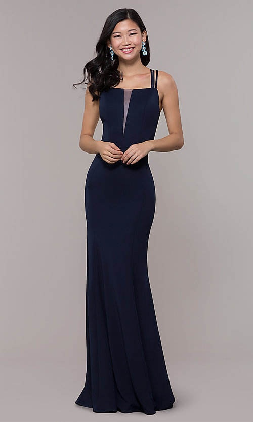 Image of long strappy-open-back prom dress. Style: PO-8468 Detail Image 3