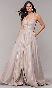 Image of open-back long metallic v-neck prom gown. Style: PO-8470 Front Image