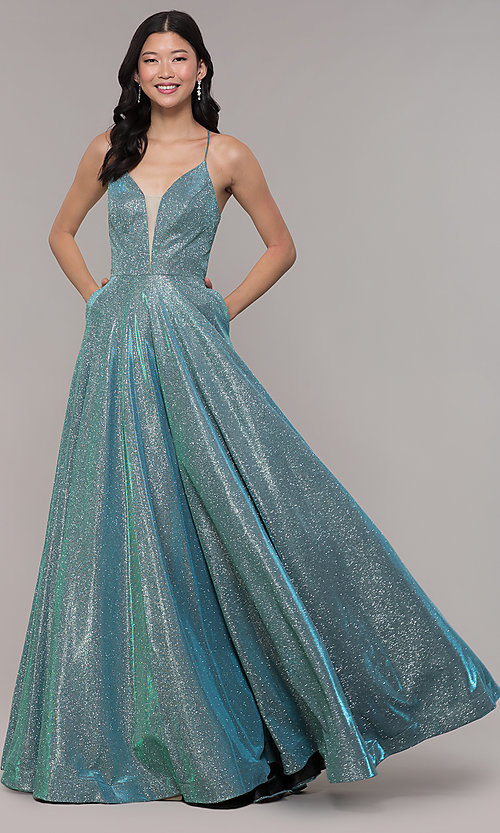 cd0400d454c Image of open-back long metallic v-neck prom gown. Style  PO