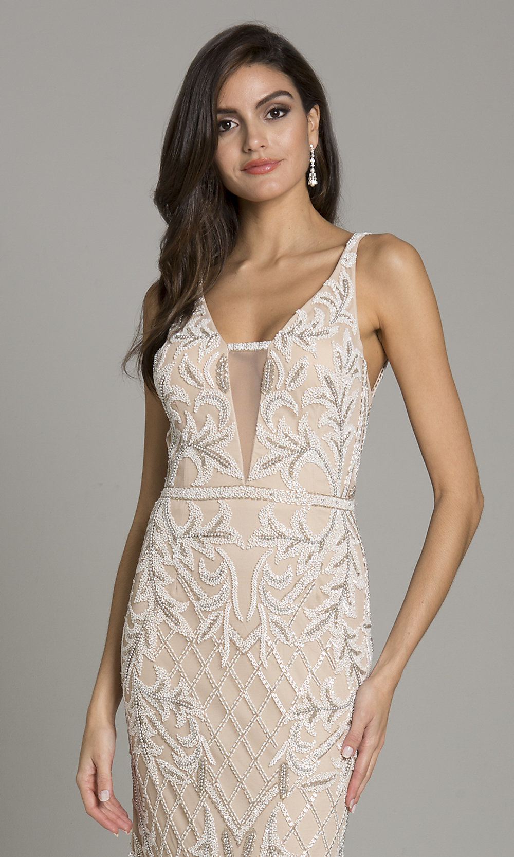 Long Silver Sequin V-Neck Nude Prom Dress - PromGirl